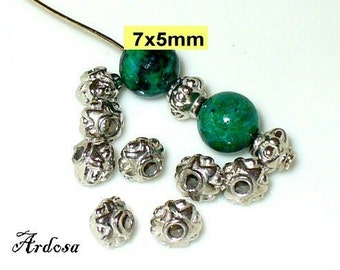 10 pearls diamonds 7x5mm Silver (103.7.12)