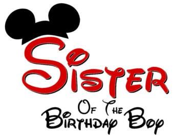 Disney Sister of the Birthday Boy  Mickey Ears INSTANT Download Printable Iron on Transfer Design Disney Birthday Family Shirts Iron on