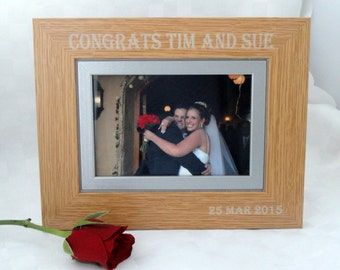 Personalised frame, Engraved wooden frame, Personalized wooden frame, Wedding gift, Gift for Bride and Groom, Housewarming gift