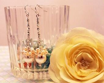 Dazzling Sterling Silver Pearl Cluster Dangle Earrings ~ Wedding ~ Bridesmaid