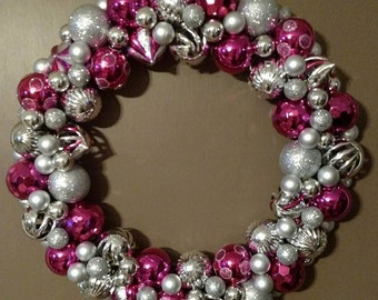 Pink and Silver Wreath, For All Year or Christmas