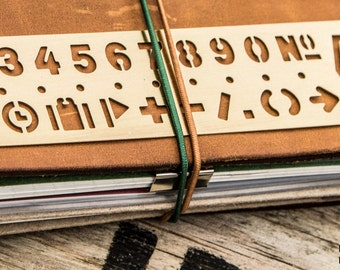 Brass Number and Symbol Stencil for your Midori Travelers Notebook
