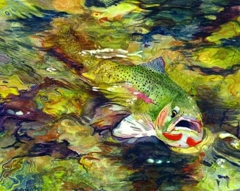Fly Fishing Watercolor Print of a  Cutthroat Trout