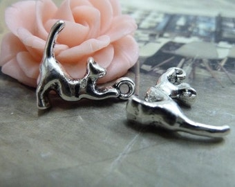 20 Cat Charms Antique Silver Tone 2 Sided Just Adorable (YT374)