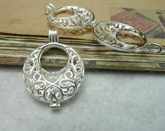 2 Moon Ball Bead Cage Silver Tone with Hinge Makes Stunning Pendants (YT7837)