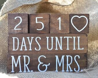 Wedding Day Countdown Blocks - Wood Stained Countdown Blocks