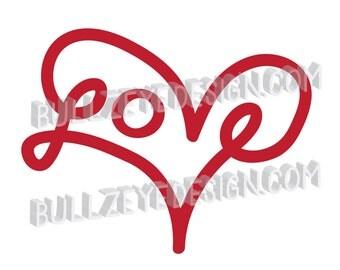 Love heart svg, Vector EPS Heart, love eps, heart die cut file, love svg, cursive love svg, Valentine svg, Wedding SVG, Engagement SVG