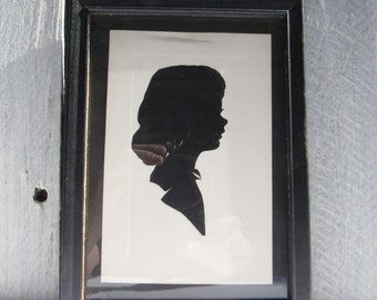 Silhouette picture, Young Girl gift, black & white picture,side view portrait, cut out picture, victorian wall art,family portrait