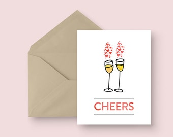 Engagement Card - Cheers - Red - Wedding Card - Anniversary Card - Champagne Wedding Card - Illustrated Card - Love Card - Modern Wedding