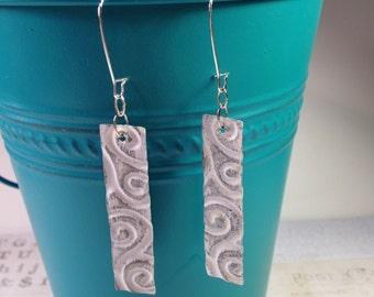 Distressed earrings, metal earrings, embossed metal earrings, industrial earrings