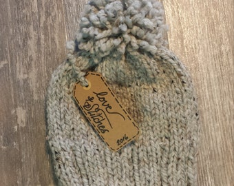 """Ready-to-Ship! """"The POM""""(adult) hand knit, modern and trendy toque in grey."""