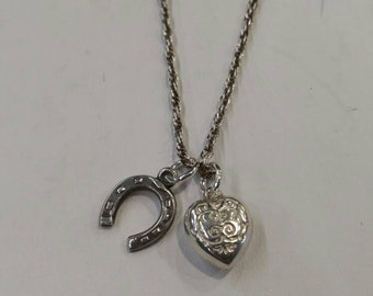 Silver vintage horseshoe and heart pendant and chain