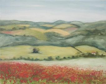 Original Oil Painting/landscape/art/painting/fine art/mountains/hills/flowers/wall decor