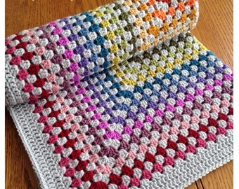 Crochet Blanket - Baby Blanket - Crochet Baby Blanket - Newborn Baby Gift - Vintage Rainbow Blanket - Vintage Style Blanket - Granny Square