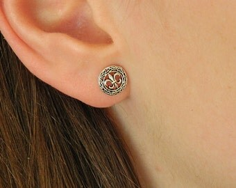 Tiny Fleur de lis Stud Sterling Silver Earrings,Silver Fleur de lis Earrings,Sterling Silver Fleur de lis,Stud Earrings,005ES