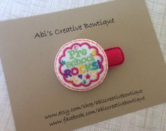 Preschool Rocks hair clip embroidered felt single clip toddler girl