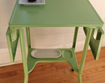 Lime Green Metal Side Table, Bar Cart or Nightstand - expandable with flip up sides
