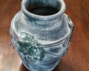 80's Vase / Ceramic / Terra Cotta / Heavy / Thick / Grapes / Grape Leaves / Ornate / Blue / Metal Decor / Metal / French Decor / Vineyard