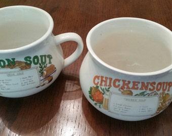 70s Vintage Soup Cups / Recipe Soup Mug / Chicken / Onion / Soup Bowls / Set of 2/ Mugs / Recipes / Ceramic/Coffee Mugs/Classic/Original/CIJ