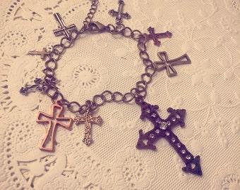 Rustic Brass Cross Charm Bracelet