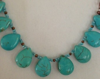 Faux Turquoise teardrop necklace
