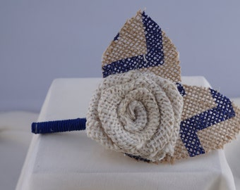Cream Burlap Flower Boutonniere with Two Navy Blue Chevron Leaves