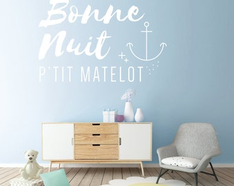 Goodnight p' little sailor - lettering wall - decor - nursery boy - sail boat, nautical, ocean, boy, son, decal
