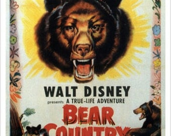 James Algar's Bear Country Vintage Movie Poster Walt Disney Kids 1953 24x36