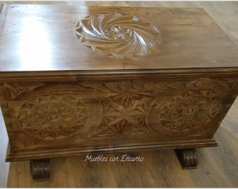 Asturian chest, trunk carved in wood