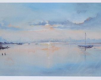 Giclee Print, Landscape art, Seaside, Boats, Dawn, Coastal, Art Print, Art Gift, Wall Art, Home Decor