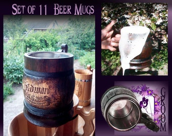 Set 11 Groomsman Wooden Beer Mugs/Personalized Groomsmen Gift/Will You Be My Groomsman/Groomsman Gift/Personalized Best Man Gift/Grooms Gift