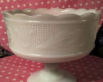 Milk glass compote dish