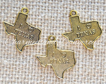 10 gold I Heart Texas charms (CM86)