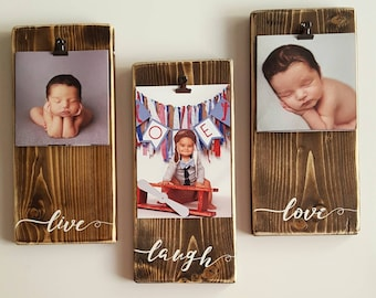 Wood Frames Hand Painted and Distressed // Handmade // Live Laugh Love // Rustic // Shabby Chic