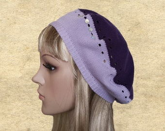 Knitted beret womens, Beret for women, Lilac knit beret, Boho women beret, Light weight beret, Knit beret lady, Boho chic beret hat
