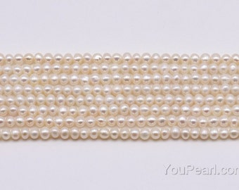 3-4mm AA seed pearl beads, white natural freshwater off round pearl strands, lustrous quality real pearls, pearl wedding jewelry, FS750-WS