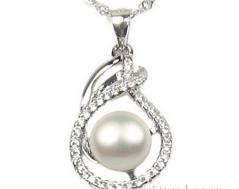 White pearl pendant, cultured pearl pendant, 925 sterling silver crystal pearl necklace, freshwater pearl bridal necklace, 7-8mm, F2905-WP
