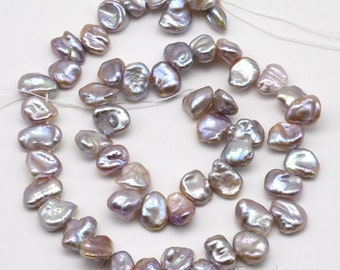 Keshi pearls, 9-10mm lavender freshwater pearl beads, large cornflake keishi pearls, side drilled pearl beads string, high luster, FK380-LS