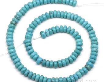 Turquoise beads, 4x6mm roundel, gem stone beads, natural gemstone strand, semi precious stone bead, genuine stone beads wholesale, TQS3025