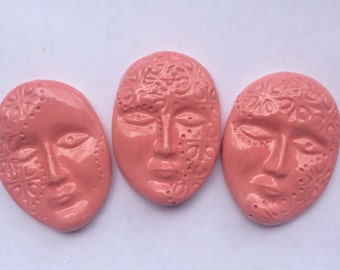 3 Ceramic Pink Face Tiles Can Be Used In Mosaics And Other Mixed Media Projects