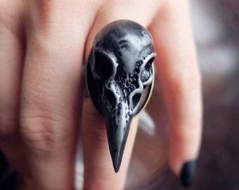 Silver/Black Raven Ring