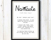 Yoga Namaste art print/ Yoga studio decor