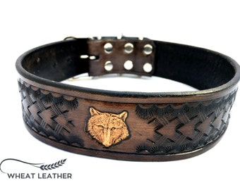 LEATHER DOG COLLAR // Black Collar // Wolf head // For big and middle dog breeds // Made from cowhide // High quality dog collar //