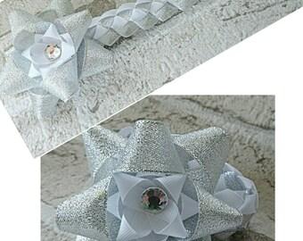 Silver and white christmas hair bun wrap