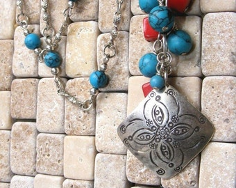 Coral, Turquoise, Silver Necklace
