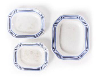 Set of 3 Blue & White Dishes