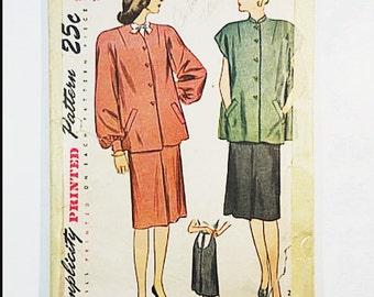 40s Maternity Suit Pattern | Simplicity 1880 Maternity Dress Pattern | 1949 Sewing Pattern