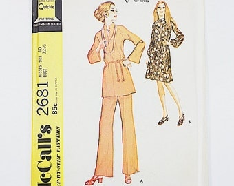70s Tunic Pants Pattern   McCalls 2681 Misses Dress or Top & Pants Pattern   70s Sewing Pattern   Factory Folded