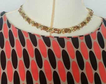 Vintage Lisner Amber 50's Rhinestone Necklace