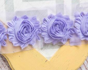 Lavender shabby flower trim by the yard, shabby rose trim, wholesale flower trim, shabby trim, rose trim, chiffon trim, flowers by the yard